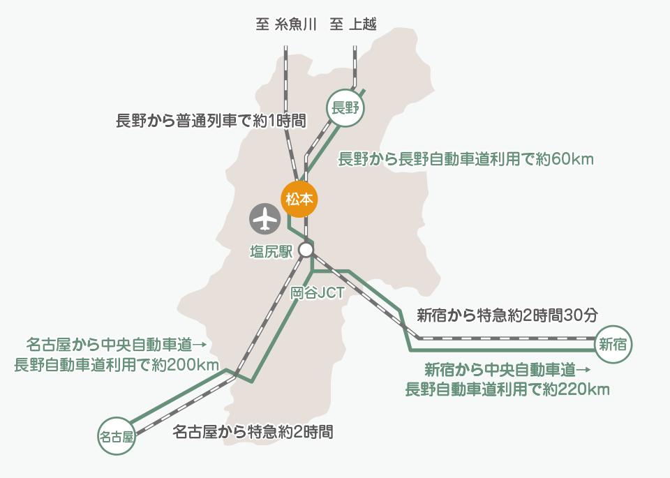 松本市までのアクセスマップ